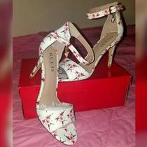 New in Box Sz Us 8 Guess Stilletto Sandals. Pink Red Floral Print. Dainty Cute Photo