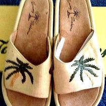 New in Box Tommy Bahama Palms Away Slide Sandals Shoes Mica Linen Size 5 Photo
