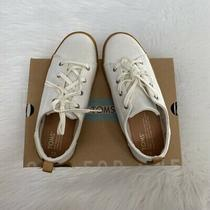 New in Box-Toms Lenny White Denim Shoes Youth 3 Photo