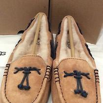 New in Box Ugg Brett Chestnut Suede Womens Slippers Sheerling Wool Lining Size 6 Photo