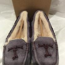 New in Box Ugg Brett Grey Suede Womens Slippers Sheerling Wool Lining Size 6 Photo