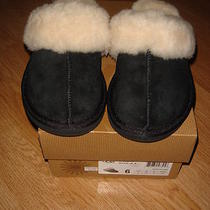 New in Box Ugg W Cozy Ii Black Suede Slippers Mens sz.6 Photo
