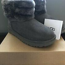 New in Box Womens Uggs Boots Fluff Mini Ugg Boots Size 6 Charcoal Gray Photo