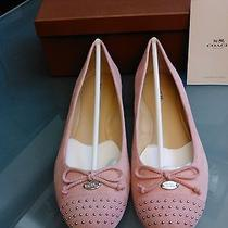 New in Box Womens Size 9.5 Pink Coach Flats With Embellishment Photo