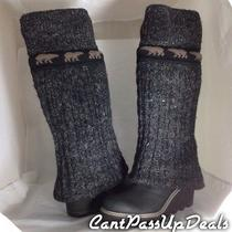 New in Box Womens Sorel Crazy Cable Wedge Cable-Knit Boots Black Size 8 Rare Photo