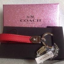 New in Gift Box  Coach Red Leather Loop Key Ring  Silver 65182b Photo