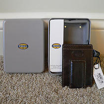 New in Gift Tin Fossil Norton Mag Multi Brown Wallet W/ Magnetic Money Clip 30  Photo