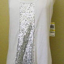 New Inc White & Silver Sequin Tank Size Medium Petite Flowing 'Tribal' 49.50  Photo