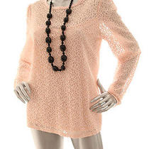 New Inc Women Casual Long Sleeve See-Through Lace Cotton Top Blush Pink Size L Photo