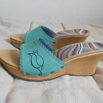 New Indigo by Clarks Womens Aqua Green Tulip Wedge Slides Sandals Shoes-Size 8m Photo