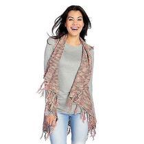 New Indigo Thread Co. Women's Exaggerated Fringe Vest Sweater Blush Sz M Photo