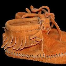 New Infant Baby Child Sz 5 Vtg 60s 70s Suede Fringe Minnetonka Nos Moccasin Shoe Photo