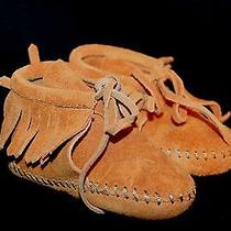 New Infant Sz 3 Vtg 60s 70s Suede Fringe Minnetonka Nos Moccasins Shoes  Photo