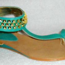New Isola Adar Aqua Leather Low Wedge Studded Ankle Strap Sandals 9 M Photo