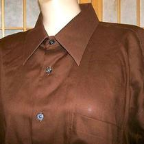 New Italian Designer 16 1/2 L 32 33 Brown Shirt Ysl Yves Saint Laurent as Is Photo