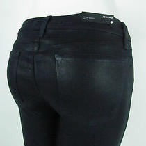 New J Brand 620 Super Skinny Mid Rise Jeans Woman Sz 32 in Coated Lacquered Dark Photo