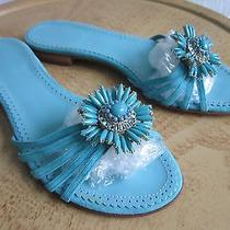 New J. Crew Layla Turquoise Sandal With Beaded Brooch Size 5.5 Made in Italy Photo
