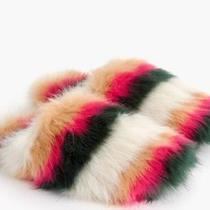 New J Crew Rainbow Striped Fuzzy Slippers Sz Xs Soldout Faux Fur Shoes Slip On Photo
