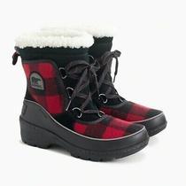 New J.crew X Womens Sorel Tivoli Iii Boots Size 5.5m Red Black Buffalo   Photo