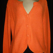 New J. Jill Melon Hue Notched Neckcrocheted Cotton Cardigan Sweater Sz M Nwot Photo