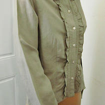 New J.jill Ruffled Top Shirt Blouse Linen/rayon Taupe Hue Sz Small           27 Photo