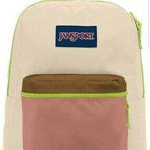 New Jansport Exposed Backpack Tan Limade   Schoolbag Book Bag Neon Green Pink Photo