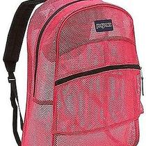 New Jansport Majestic Pink Clear Mesh Pack See Through School Girl Backpack Bts Photo