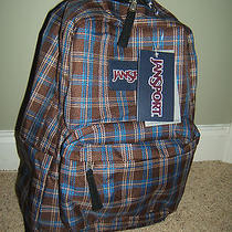 New  Jansport Superbreak  Backpack  School Book Bag Brown Plaid Photo