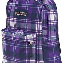 New Jansport Superbreak Purple Night Preston Plaid School Girl Boy Backpack Nwt Photo