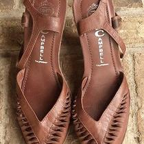 New Jeffrey Campbell Anthropologie Brown Leather Open Toe Heels Wedges 7.5 7 1/2 Photo
