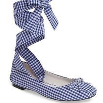 New Jeffrey Campbell Blue & White Sarine Tie Ballet Flats Women Size 5.5  120 Photo