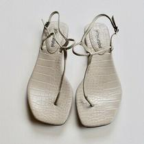New Jeffrey Campbell Boca Embossed Leather T Strap Thong Sandals 8 Photo
