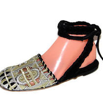 New Jeffrey Campbell Boho Ankle Tie Mule Flats Metallic Thread Sz 7 Photo