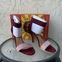 New Jeffrey Campbell Charvet Shoes Heels Size 8.5 Blush & Wine Suede Sandal Photo