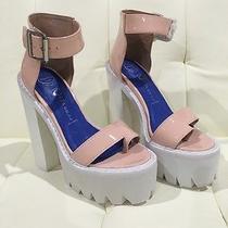 New Jeffrey Campbell Fabrizio Size 5 Pink Patent Leather White Platform Sandal Photo