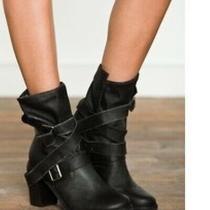 New Jeffrey Campbell Free People  France Ibiza Wrap Strap Motorcycle Boots 9 Photo