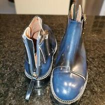 New Jeffrey Campbell Great Moments Cut Out Boots Blue Leather Ankle Boots 9 M Photo
