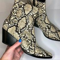 New Jeffrey Campbell Kelam-2 Snake Embossed Booties Boots Beige Sz 8.5 Photo