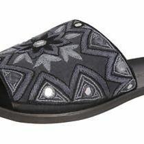 New Jeffrey Campbell Kimaya Slide Sandal Black/grey Embroidered Size 7 90 Photo