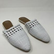 New Jeffrey Campbell Leno Slip on Mules White Leather Woven Size 7.5 Photo