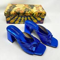 New Jeffrey Campbell Melonger Block Heel Slide Sandal Blue Metallic Size 6 Photo