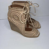 New Jeffrey Campbell Rayos Perforated Wedge Sandal Sz 5.5 Nude Sold Out 150 Photo