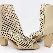 New Jeffrey Campbell Retain Beige Perforated Leather Open Toe Pump Size 7m Photo