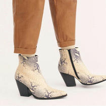New Jeffrey Campbell Size 8 Snake Skin Bootie With Silver Accents Photo