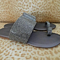 Newjeffrey Campbell Sz 8m Crystals Slide Sandals Pewter Combo Photo