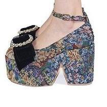 New Jeffrey Campbell Tapestry Platform Velvet Floral Wedge Vintage Retro Mod  Photo
