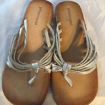 New Jeffrey Campbell Thong Wedge Sandal Silver Leather Women Size 10  Photo