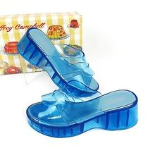 New Jeffrey Campbell Women's Jelli Blue Mule Slide Wedge Platform Sandals Size 9 Photo