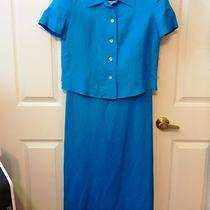 New Jessica Howard 10 Petite 2 Pc Sleeveless Dress Aqua Blue Jacket Suit Set 10p Photo