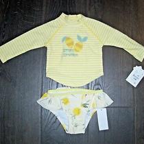 New Jessica Simpson Baby Girl 12 Month Yellow Lemon Swimsuit Rash Guard 2-Pc Ls Photo